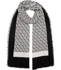 burberry monogram print lightweight cashmere scarf - black