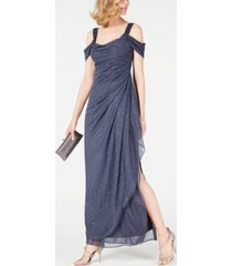 alex evenings cold-shoulder draped metallic gown regular & petite sizes