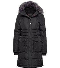 pa isabella faux fur gevoerde lange jas zwart pajar