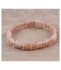 aventurine beaded stretch bracelet, 'desert sands' (india)