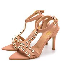 sandália bico folha gladiadora salto fino luxo em napa nude