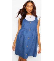 zwangerschaps gesmokte chambray pinafore jurk met knoop, middenblauw