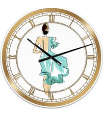 "designart evening dress fashion large fashion wall clock - 36"" x 28"" x 1"""