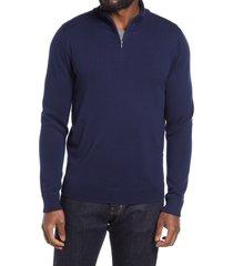 men's nordstrom washable merino quarter zip sweater, size 3xl - blue