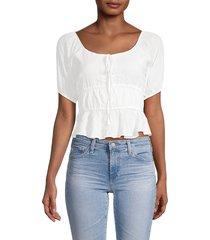 lea & viola women's peplum crop top - white - size xs