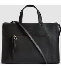 reiss picton - textured leather tote bag in black, womens