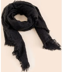 women's gracie frayed edge scarf in black by francesca's - size: one size