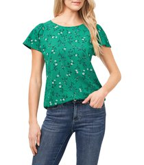 cece floral flutter sleeve crepe top, size small in rich kelly green at nordstrom