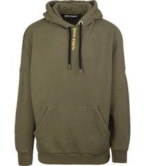 palm angels man military green classic logo hoodie