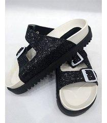 sandalia negra sibenik mia glitter