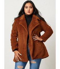 abrigo de manga larga de peluche de talla grande yoins