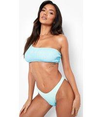 gekreukeld ombre bikini broekje met lage ronde uitsnijding, blue