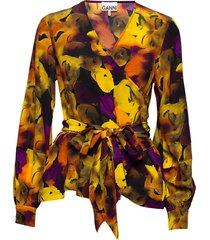 silk mix blouse lange mouwen geel ganni