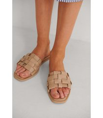 na-kd shoes flätade lädersandaler - beige
