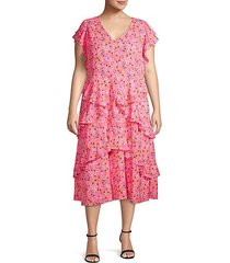 plus fabrianne ruffled floral midi dress