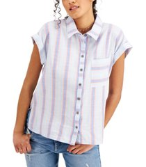 style & co cotton striped camp shirt, created for macy's