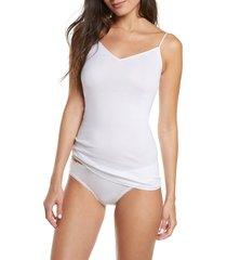 women's hanro seamless v-neck cotton camisole, size small - white