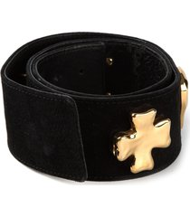 christian lacroix pre-owned cross logo detail belt - black