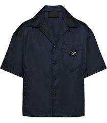 prada short sleeved recycled-nylon shirt - blue