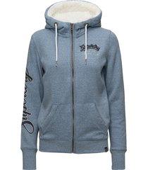 aria applique ziphood hoodie trui blauw superdry