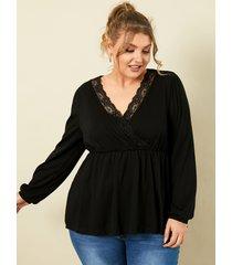 talla grande con cuello en v y abrigo negro diseño blusa de encaje de manga larga