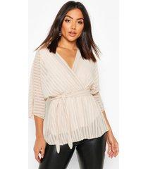 sheer stripe wrap belted blouse, ecru