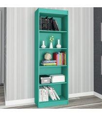 estante para livros sapiranga 4 prateleiras turquesa acetinado - atualle móveis