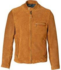 schott nyc men's hand vintage like cow suede cafe racer jacket