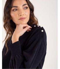 suéter tejido para mujer negro manga larga con perlas