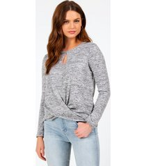 carianne front twist top - gray