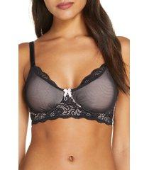 women's belabumbum mesh & lace underwire nursing bra, size small - black