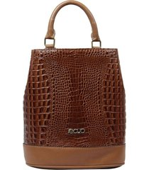 bolsa mochila de couro recuo fashion bag caramelo