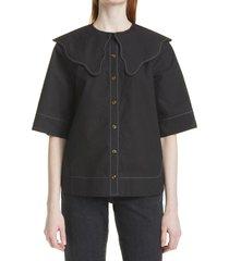 ganni platter collar blouse, size 4 us in black at nordstrom