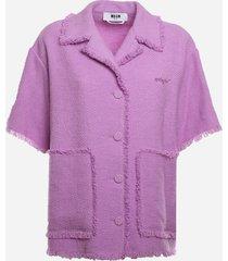 msgm tweed jacket with frayed edges