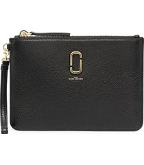 marc jacobs the softshot leather wristlet - black