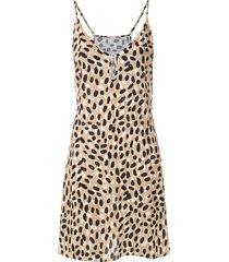 track & field leopard print selvagem dress - multicolour