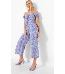 bloemen cullotte jumpsuit met open schouders, blue