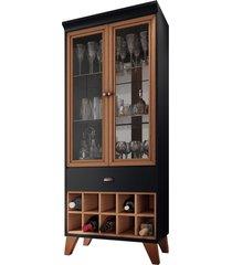 cristaleira bar com nicho adega sala de estar andorra preto/nature - gran belo