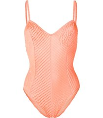 jean louis scherrer pre-owned pleated effect swimsuit - orange