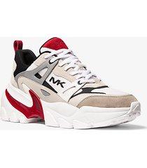 mk sneaker nick in pelle e mesh - rosso brillante (rosso) - michael kors