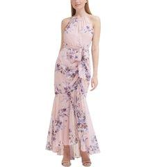 eliza j floral-print mermaid gown