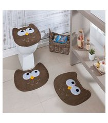 kit tapete de banheiro 3 peças antiderrapante coruja castor