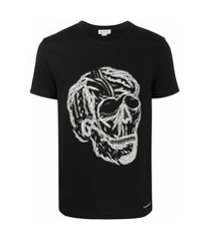 alexander mcqueen camiseta com estampa de caveira - preto