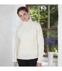 celtic aran turtle neck sweater cream medium