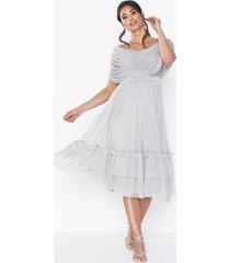 anaya gathered tulle bardot midi dress loose fit