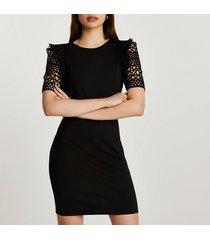 river island womens black crotchet sleeve mini dress