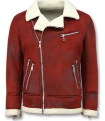 leren jas tony backer imitatie bontjas - lammy coat -