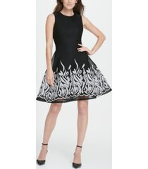 dkny border mesh fit flare dress