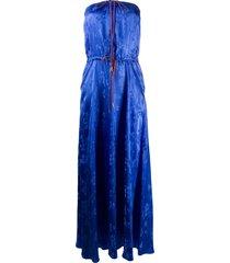essentiel antwerp vather strapless maxi dress - blue