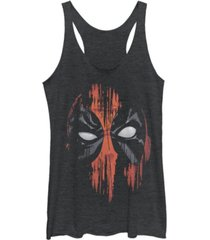 fifth sun marvel women's dead pool faded paint face tri-blend tank top